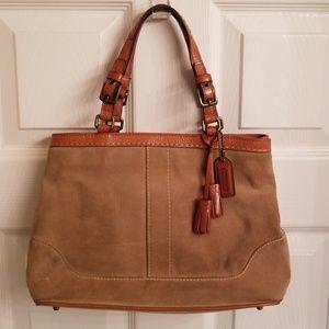 Tan suede Coach handbag